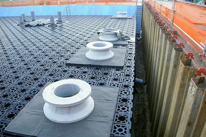 株式会社中里組の雨水貯留施設施工現場